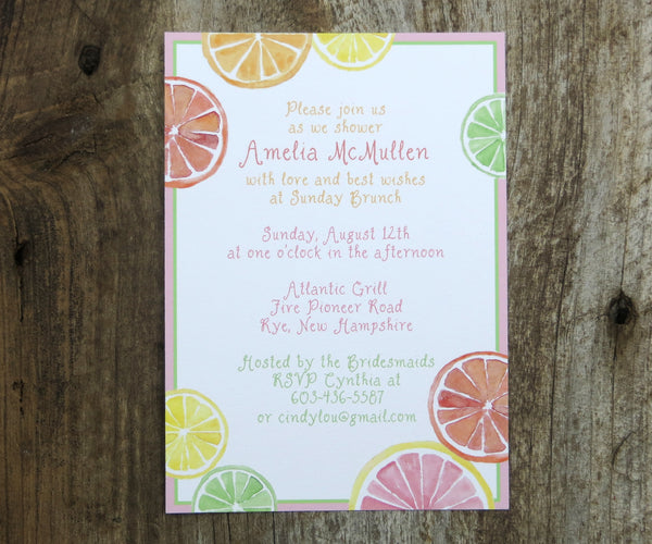 Citrus Slices Shower Invitation