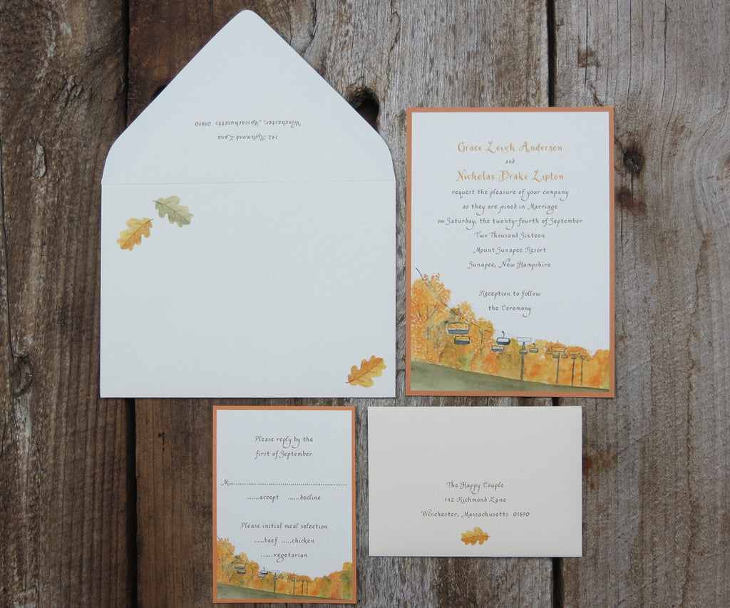 Chairlift In Autumn Wedding Invitation