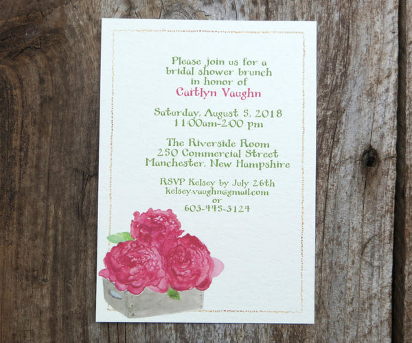 Box of Peonies Bridal Shower Invitation