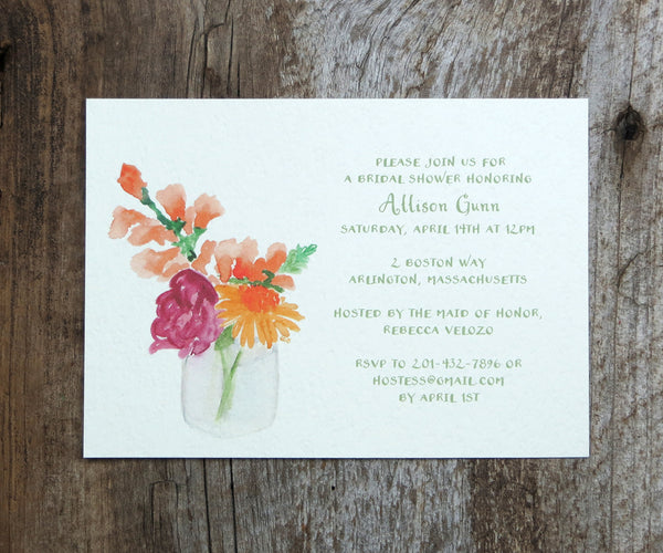 Jar of Blossoms Bridal Shower Invitations