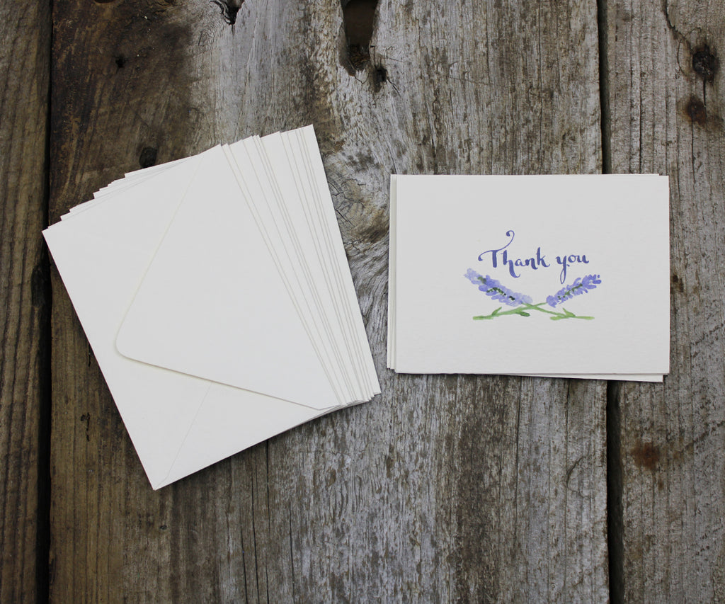 Lavender thank you note