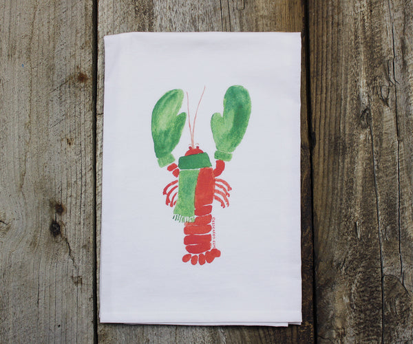 Lobster with mittens tea towel
