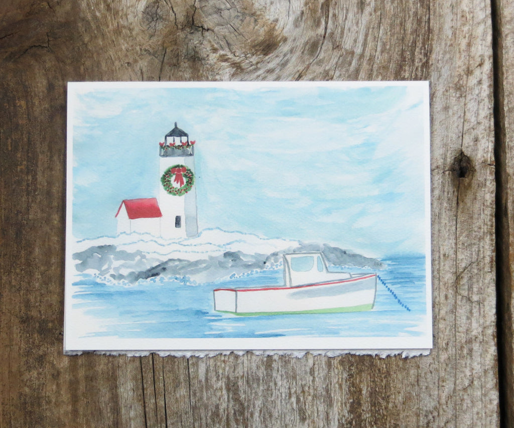 Lobster Boat Holiday Card