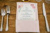 pink roses wedding menu