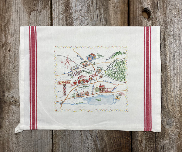 North Pole Map Vintage Tea Towel