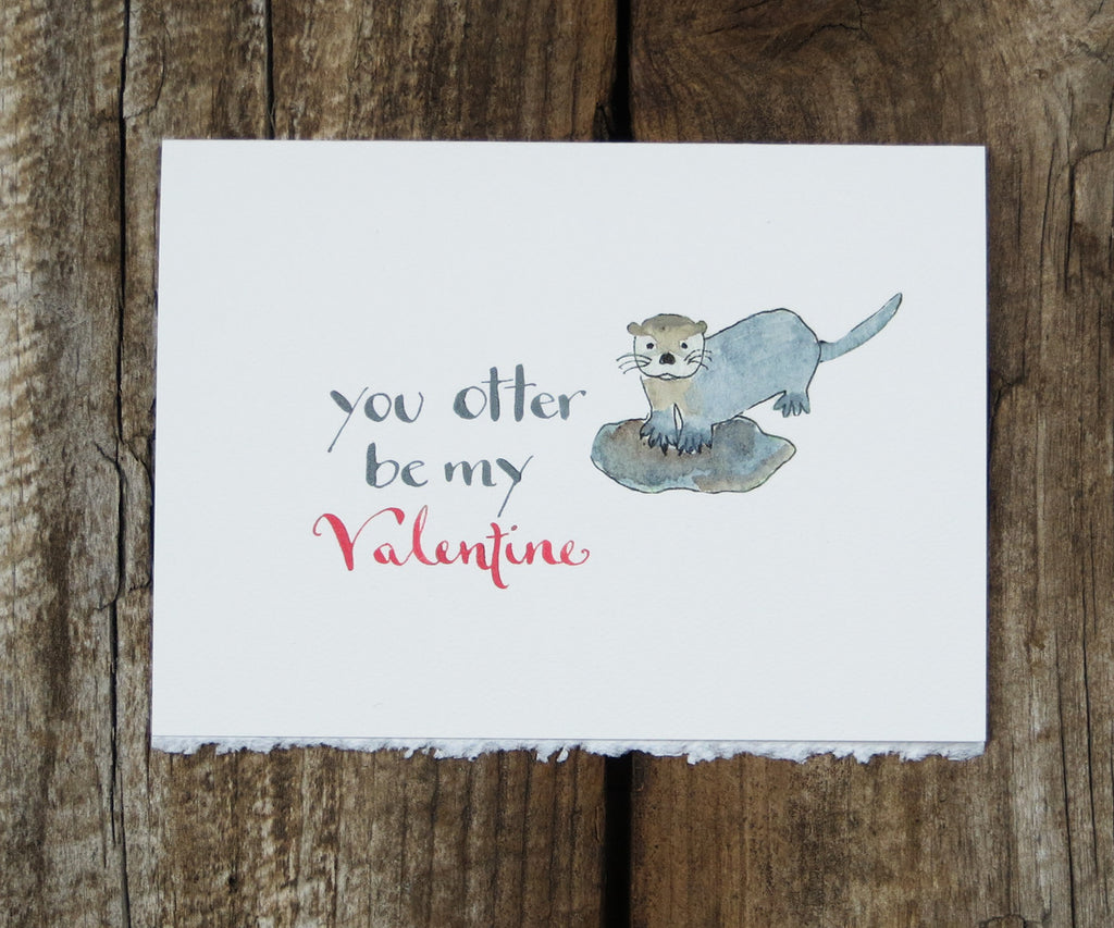 Otter Valentines Card