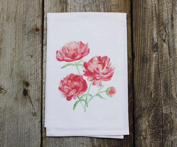 Pink peonies tea towel