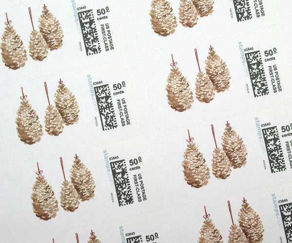 Pine Cones Christmas Stamps
