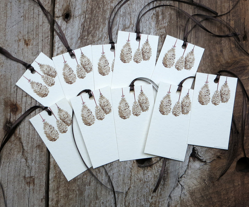 Pine Cones Holiday Gift Tags
