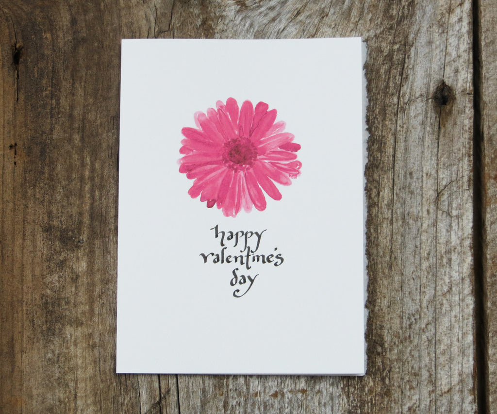 Pink Daisy Valentines Card