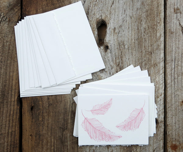 Pink Feathers Valentine Notes