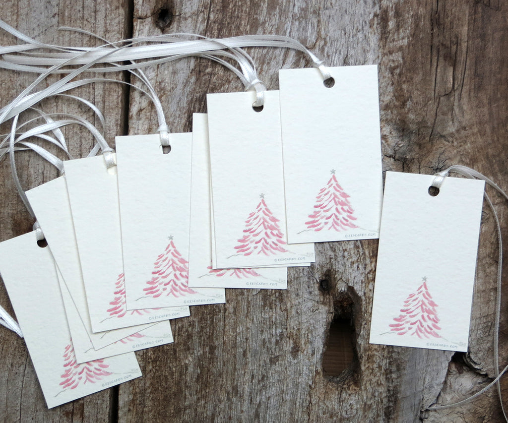 Pink Tree Holiday Gift Tags