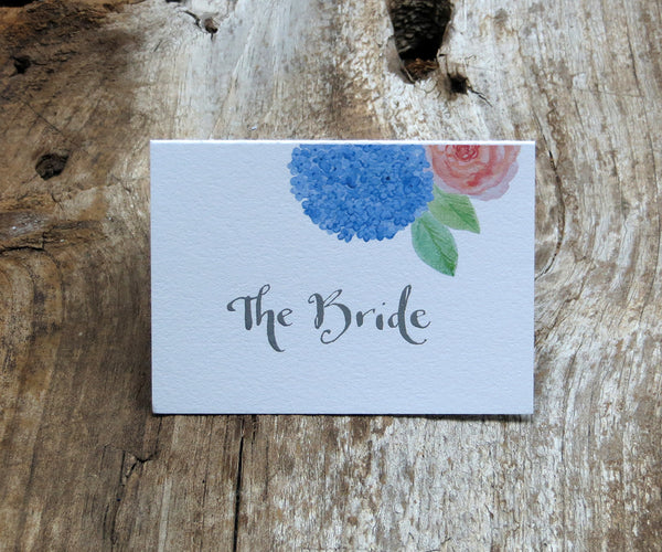 Hydrangeas and Roses Escort/Place Card