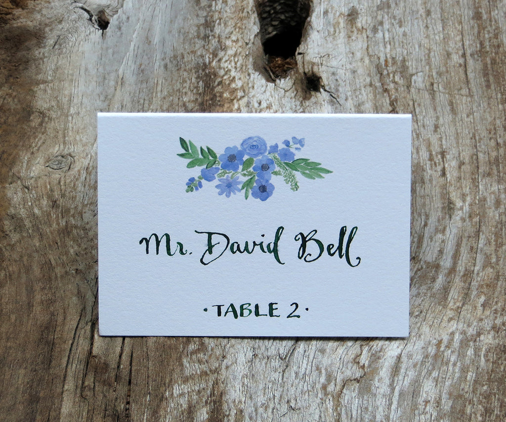 Periwinkle Bouquet Escort/Place Card
