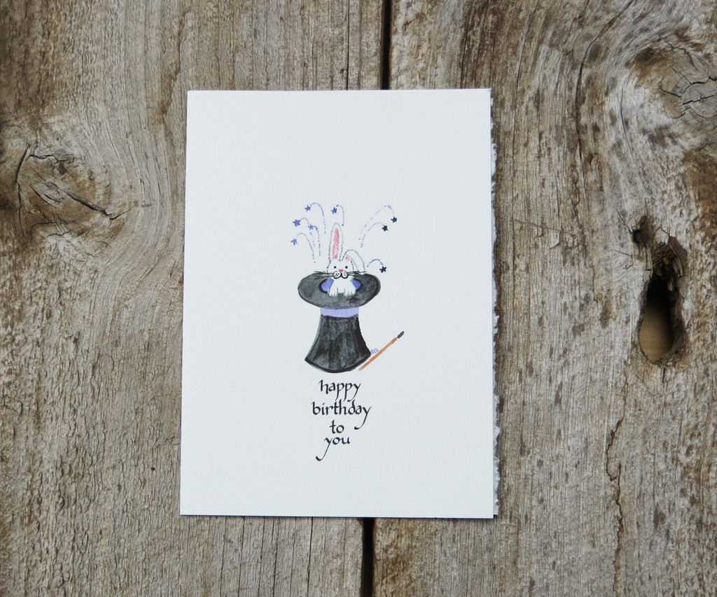 Rabbit In Hat Birthday Card
