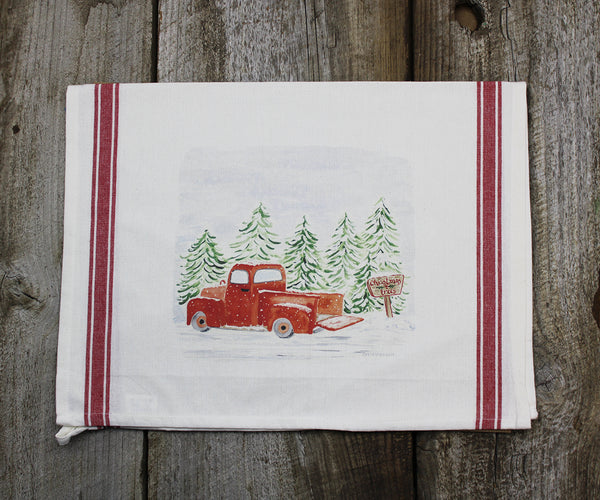 Red Truck Vintage Tea Towel