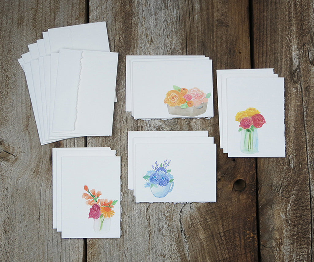 mixed florals note cards