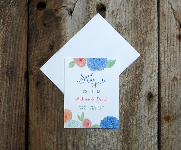 Hydrangeas and Roses Save the Date