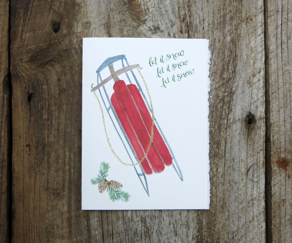 Red Sled Holiday Card