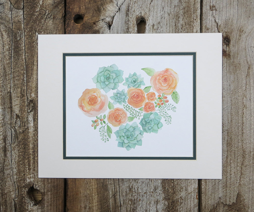 Succulents and Peach Roses Floral Print