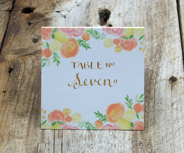 Coral Floral Table Sign