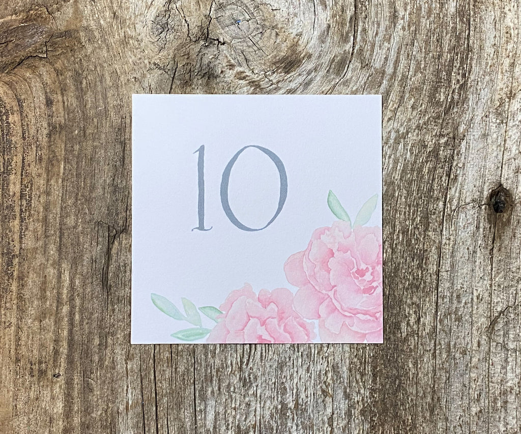 Peony with Greens Table Signs