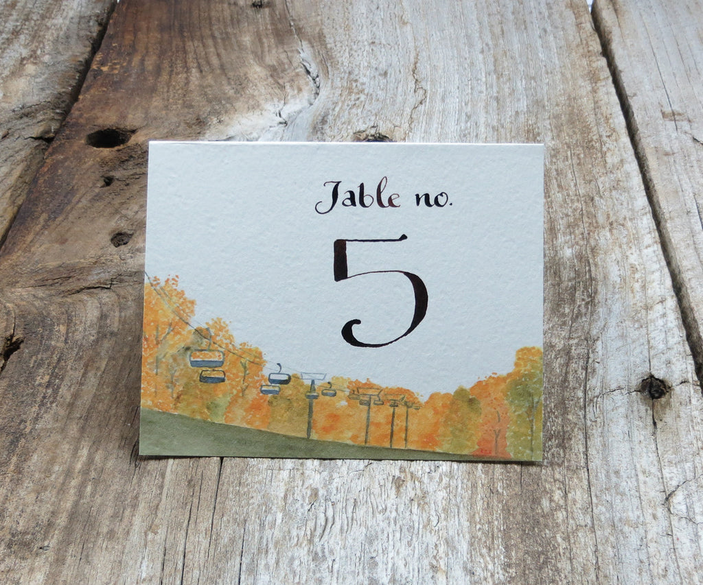 Chairlift in Autumn Table Signs