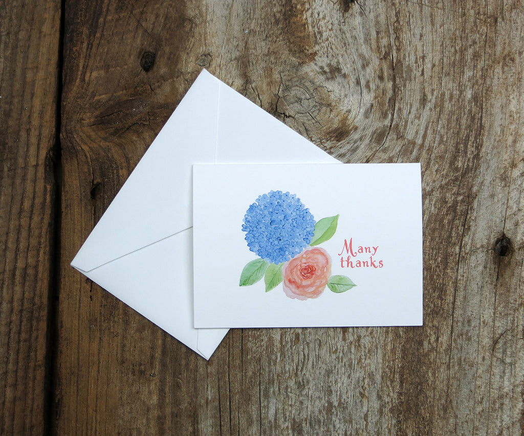 Hydrangeas and Roses Wedding Thank You Notes