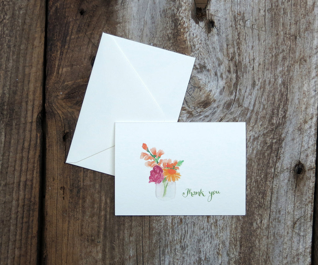 Jar of Blossoms Thank You Notes