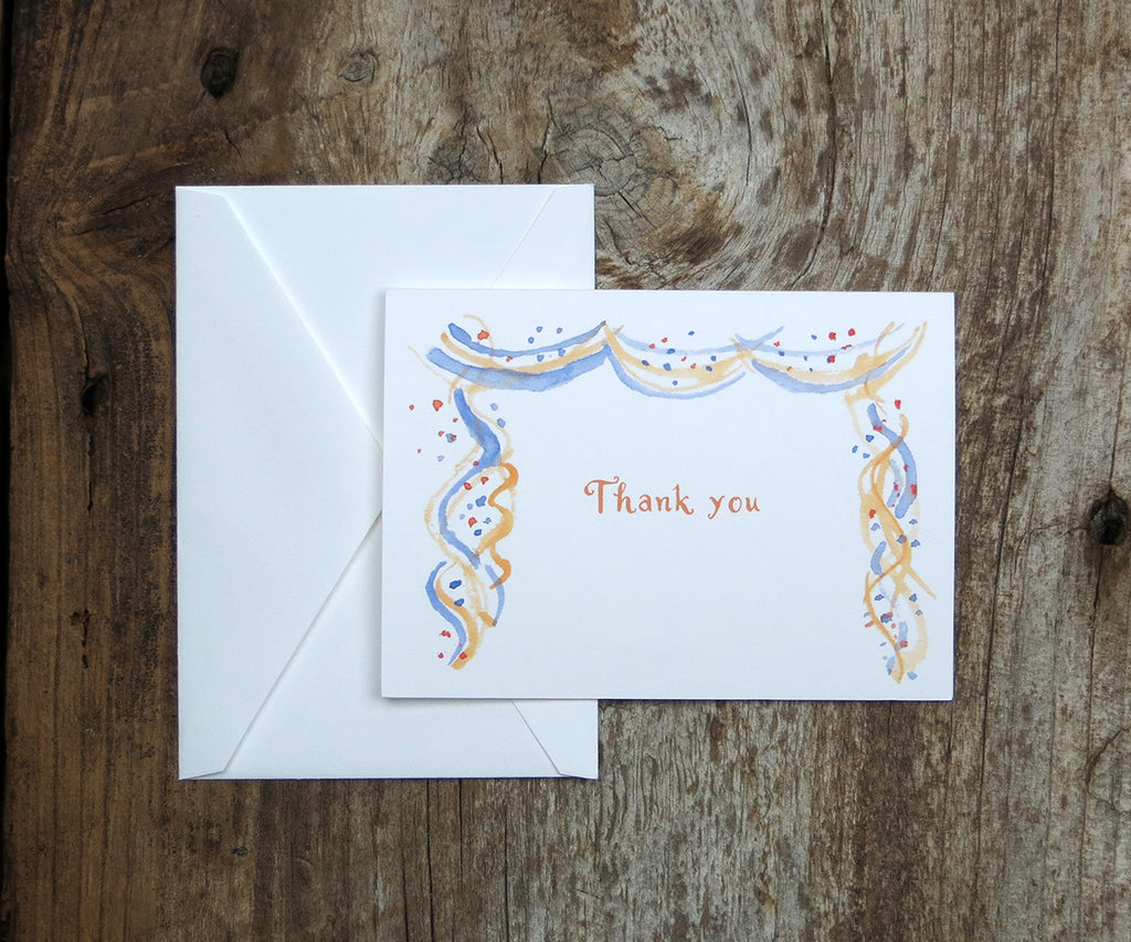 Confetti and Streamers Thank You Notes