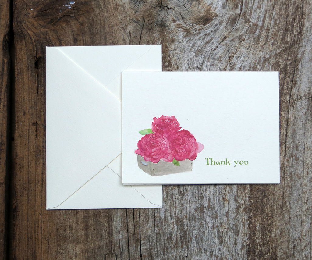 Peonies thank you note