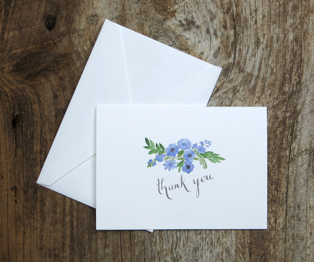Periwinkle bouquet thank you note