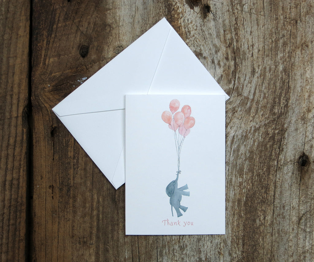 Baby Girl Elephant Thank You Notes