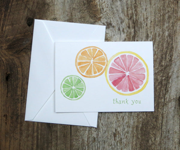 Citrus Slices Thank You Notes