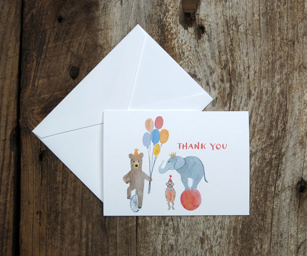 Circus Animals Thank You Notes