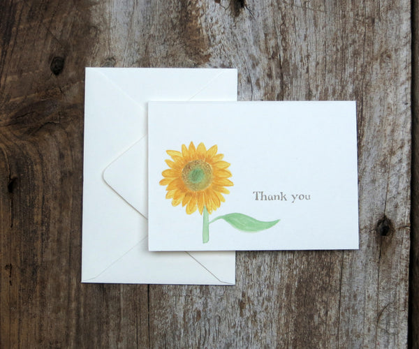 Rustic Sunflower Wedding Thank You Notes