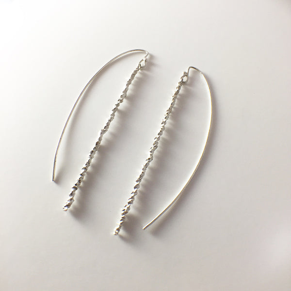 Twist Thin Long Bar Long Back Earrings