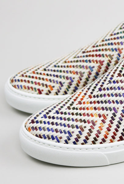 Raffia Woven Leather Sneakers