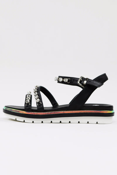 Black Leather Crystal Embellished Sandals