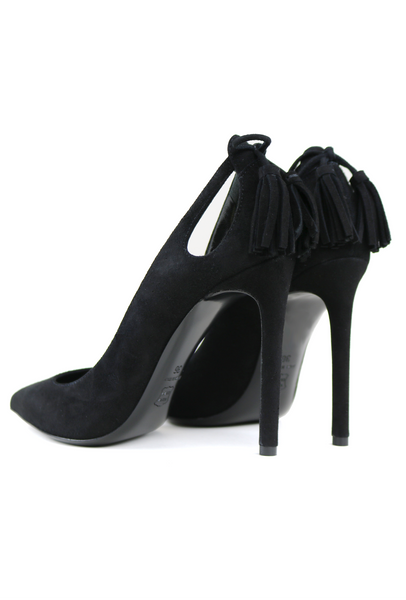 Black Suede Pumps with Tassel