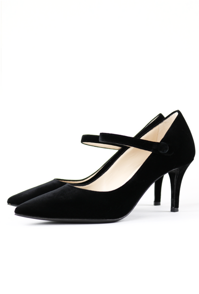 Black Velvet Mary-Jane Pump