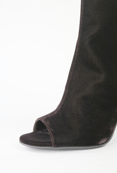 Brown Velvet Peep Toe Embelished Ankle Boots