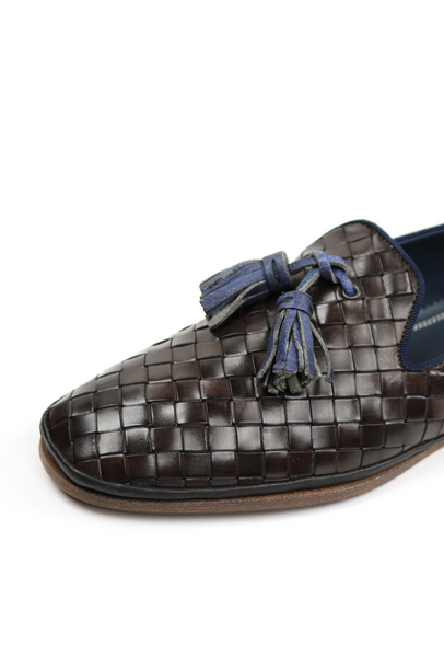 Basket Weave Men's Leather Loafers with Tassel Detail