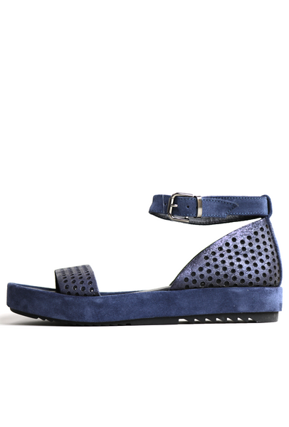 Denim Coloured Combination Leather Perforated Sandals