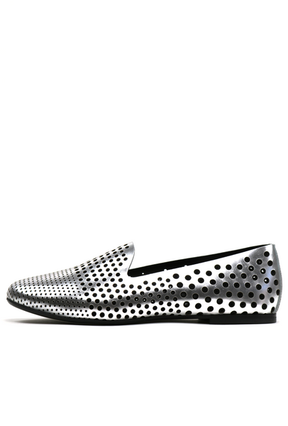 Perforated Polka Dot Silver Loafers