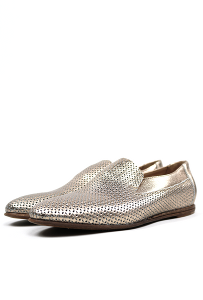 Perforated Soft Leather Metallic Loafers