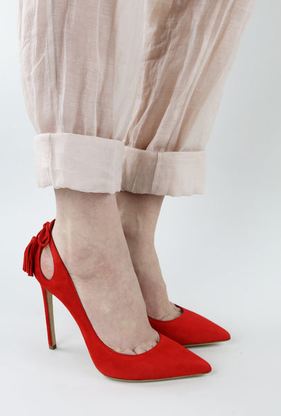 Lipstick Red Suede Pumps with Tassels