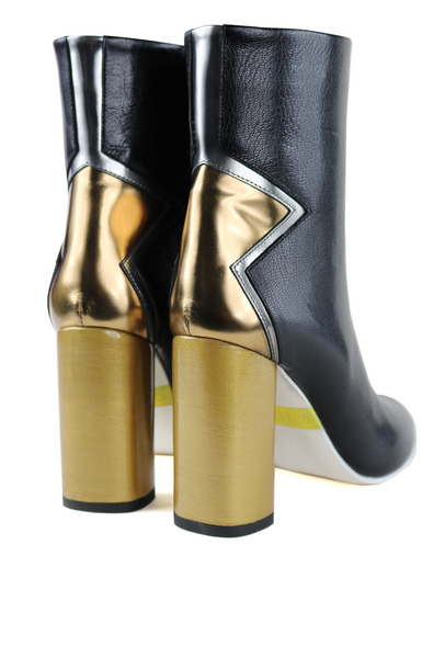 Black Leather Metallic Star Heel Ankle Boots