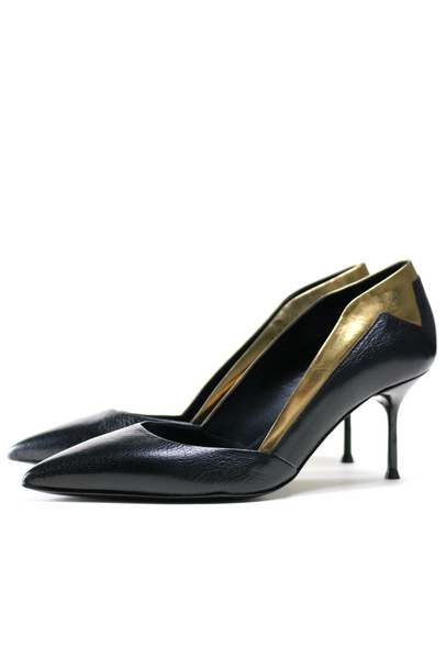 Metallic Star Heel Black Leather Pump