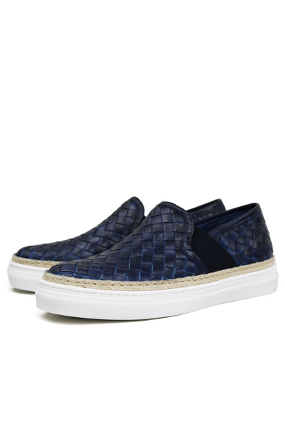 341941e6fa2d4 Basket Weave Leather Espadrille Sneakers – One Favourite